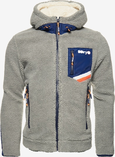 Superdry Fleece jas in de kleur Blauw / Geel / Lichtgrijs, Productweergave