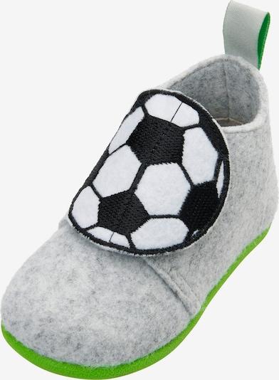 PLAYSHOES Kapcie 'Fußball' w kolorze szary / czarny / białym, Podgląd produktu