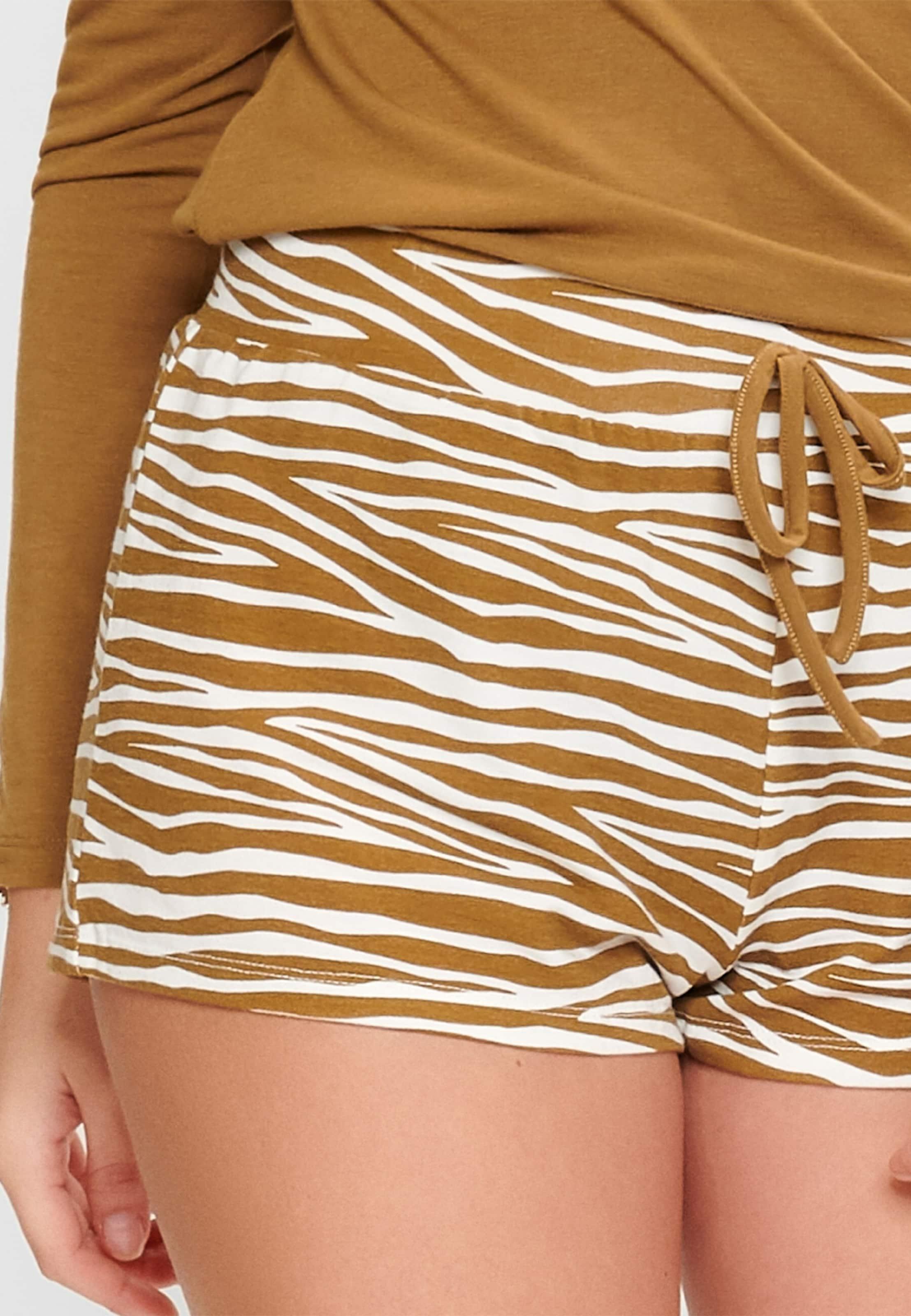 LingaDore Pyjamahose in braun / weiß