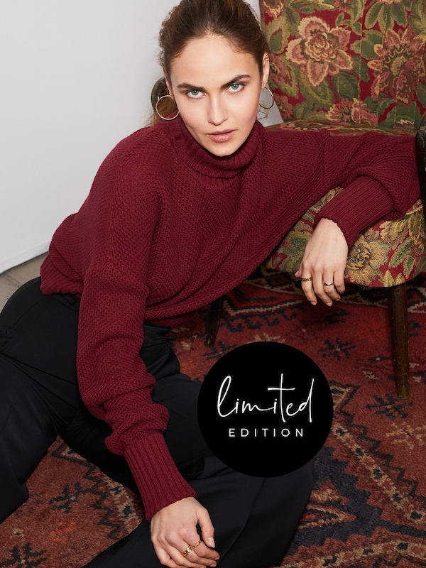 ABOUT YOU Limited Pullover 'Elena' by Elena Carriere in bordeaux, Modelansicht