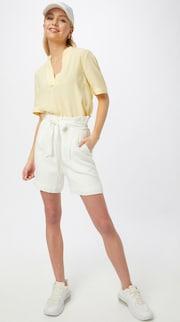 Plisované šortky Ichi v bielej / šedobielej farbe