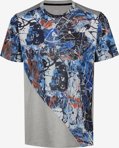 new balance T-Shirt fonctionnel en bleu / gris / noir / blanc, Vue avec produit
