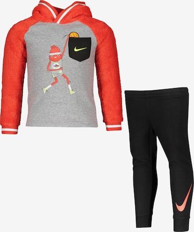 Nike Sportswear Trainingsanzug in grau / rot / schwarz, Produktansicht