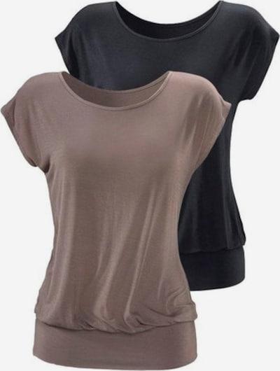 LASCANA Shirt in taupe / schwarz, Produktansicht