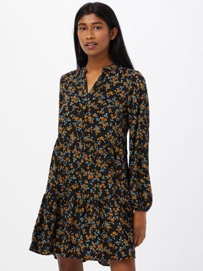 OBJECT Kleid in gelb / pastellgrün / orangerot / schwarz, Modelansicht