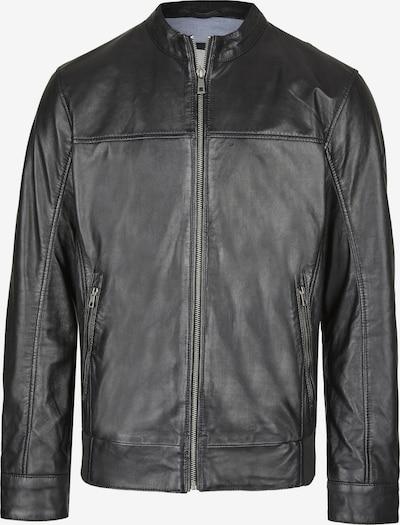 bugatti Lederjacke mit Riegeln und Reißverschlüssen in schwarz, Produktansicht