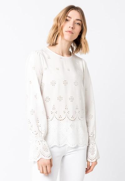HALLHUBER Bluse mit Lochstickerei in weiß, Modelansicht
