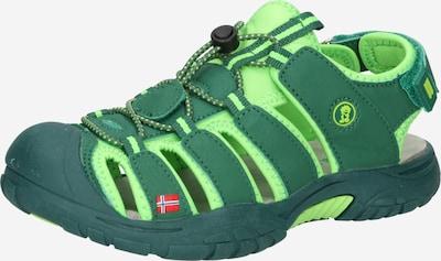 TROLLKIDS Sandalen 'Kvalvika' in de kleur Neongroen / Donkergroen, Productweergave