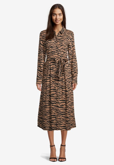 Betty Barclay Hemdblusenkleid kurzarm in camel / schwarz, Modelansicht