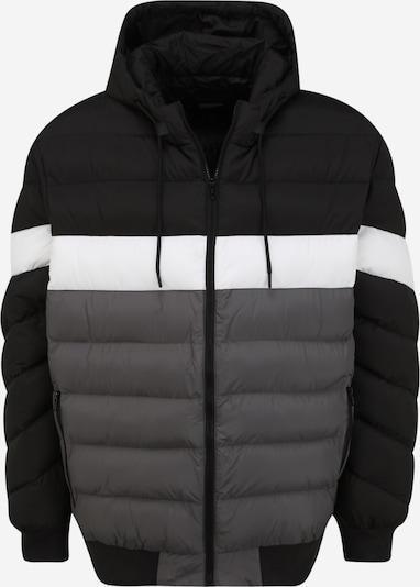 Urban Classics Big & Tall Winterjas in de kleur Donkergrijs / Zwart / Wit, Productweergave