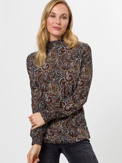 zero Bluse in karamell / schoko / dunkelgelb / burgunder / schwarz, Modelansicht