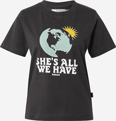 DEDICATED. T-Shirt 'Mysen All We Have Charcoal' in gelb / mint / schwarz / weiß, Produktansicht