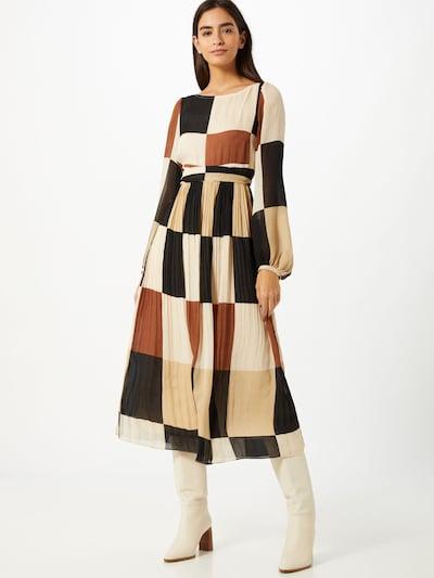 Traffic People Kleid 'Fathom' in creme / kitt / karamell / mischfarben / schwarz, Modelansicht