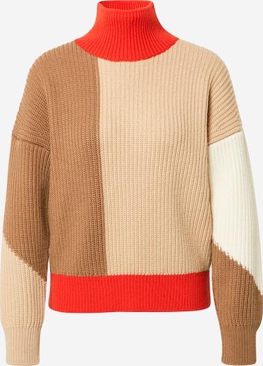 BOSS Pullover in beige / dunkelbeige / hellrot, Produktansicht