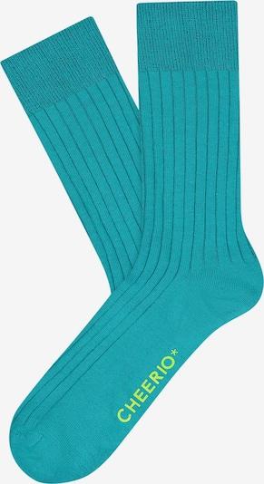 CHEERIO* Socken 'TOUGH GUY' in türkis / neongrün, Produktansicht