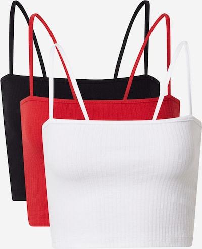 Missguided Top in rot / schwarz / weiß, Produktansicht