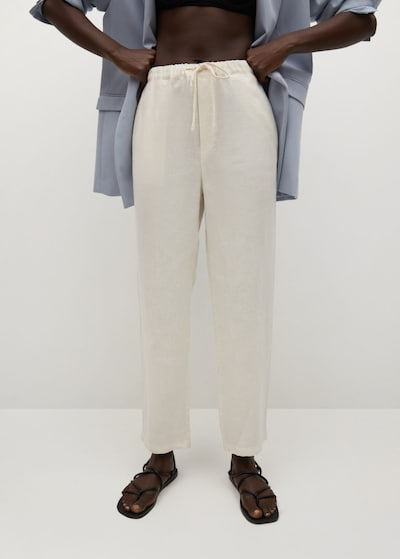 MANGO Hose 'Linen' in weiß, Modelansicht