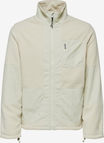 SELECTED HOMME Fleece jacket 'Nohr' in White
