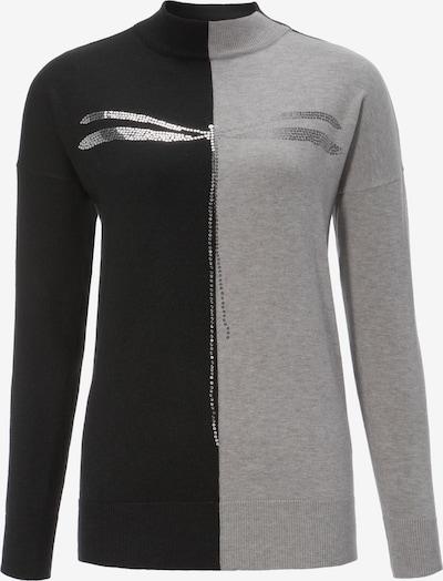 Aniston CASUAL Pullover in graumeliert / schwarz / silber, Produktansicht