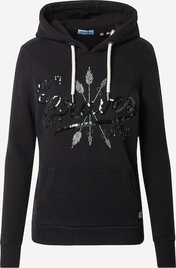 Superdry Sweatshirt in de kleur Donkergroen / Zwart / Zilver, Productweergave