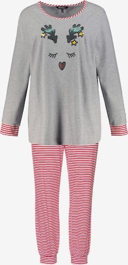 Ulla Popken Pyjama in grau / rot / weiß, Produktansicht