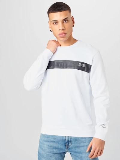 Bluză de molton REPLAY pe negru / alb: Privire frontală