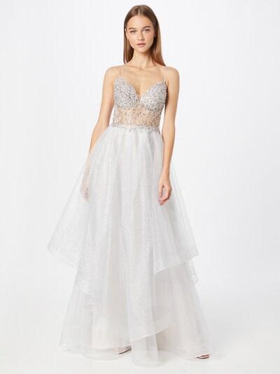 Rochie de seară Unique pe argintiu / transparent, Vizualizare model