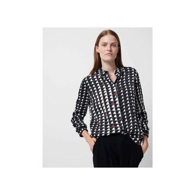 Someday Bluse in nachtblau / braun / weiß, Modelansicht