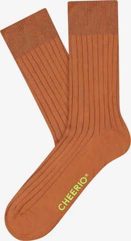 CHEERIO* Socks 'TOUGH GUY' in Brown
