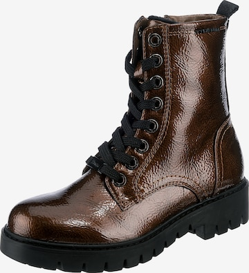 TOM TAILOR DENIM Lace-Up Ankle Boots in Bronze