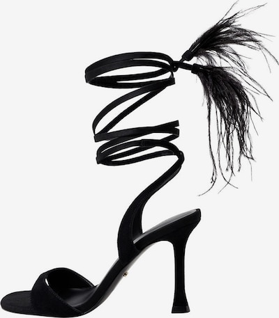 VIOLETA by Mango Sandalette 'Plumas' in schwarz, Produktansicht