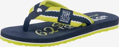 TOM TAILOR Zehentrenner in dunkelblau / neongelb / weiß, Produktansicht