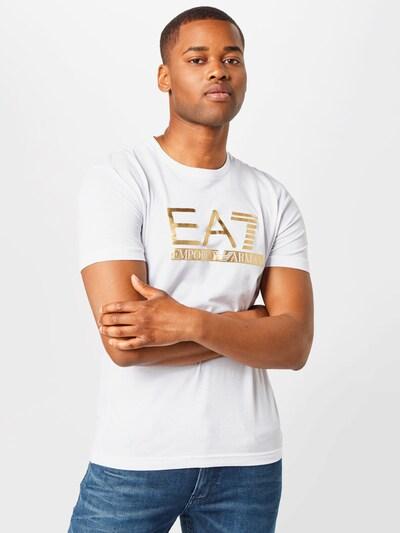 EA7 Emporio Armani Тениска в злато / бяло: Изглед отпред