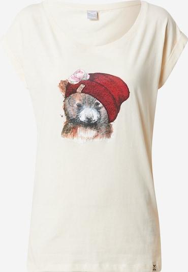 Iriedaily T-shirt 'It Beary' i duvblå / pastellgul / karminröd / svart / vit, Produktvy