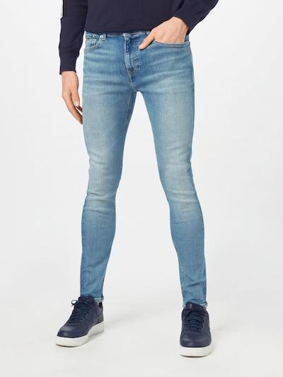 Calvin Klein Jeans Jean en beige clair / bleu denim / blanc, Vue avec modèle