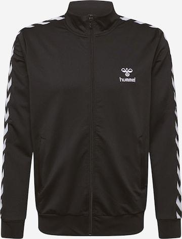 Bluză cu fermoar sport 'Nathan 2.0' de la Hummel pe negru
