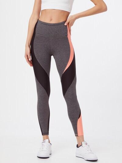 REEBOK Sportovní kalhoty - šedý melír / světle růžová / černá, Model/ka