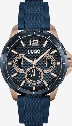 HUGO Uhr in dunkelblau / gold, Produktansicht