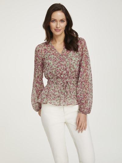 heine Bluse in braun / hellgrün / rosa / himbeer, Modelansicht