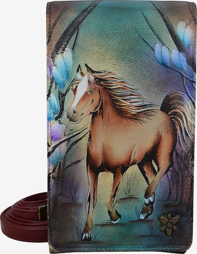 ANUSCHKA Brieftasche 'Free Spirit' aus handbemaltem Leder in mischfarben, Produktansicht