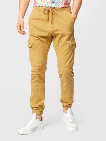 INDICODE JEANS Klapptaskutega püksid 'Levi Cargo', värv pruun