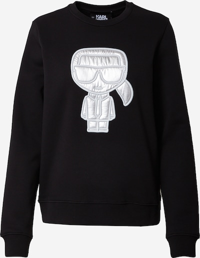 Bluză de molton Karl Lagerfeld pe negru / alb, Vizualizare produs