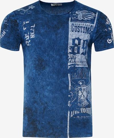 Rusty Neal T-Shirt mit modernem Front & Back Print in marine, Produktansicht