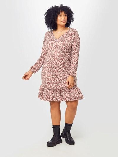 ABOUT YOU Curvy Kleid 'Mele' in creme / rostbraun, Modelansicht