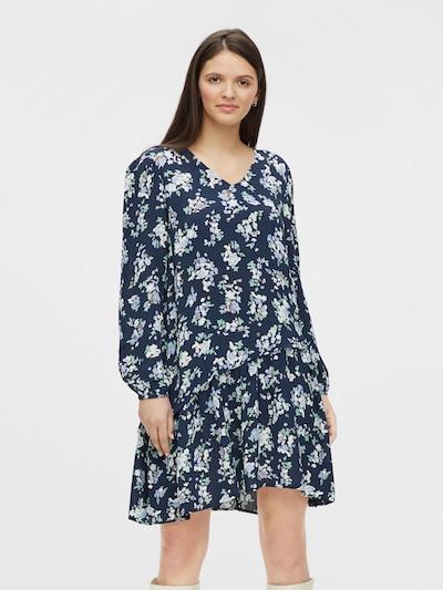 PIECES Kleid 'Dakota' in rauchblau / nachtblau / opal / braun / hellgrün, Modelansicht