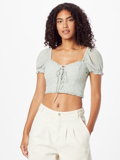 NA-KD Bluse in pastellgrün / weiß, Modelansicht