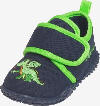 PLAYSHOES Pantofle 'Drache' - marine modrá / limone / svítivě zelená / tmavě oranžová, Produkt