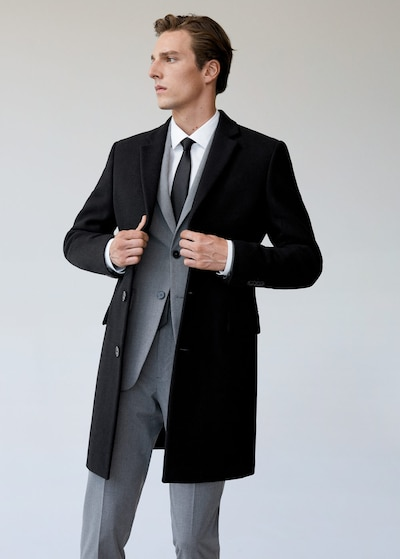 MANGO MAN Přechodný kabát 'Arizona' - černá, Model/ka