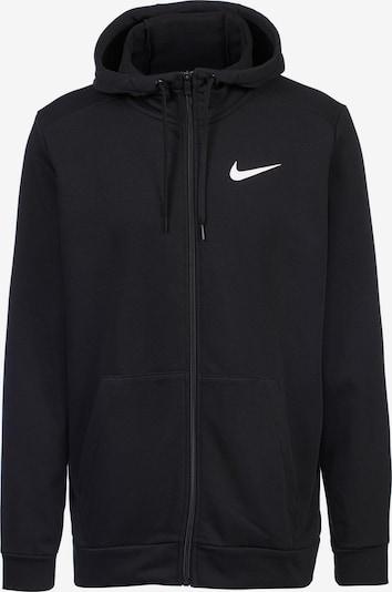 Bluză cu fermoar sport NIKE pe negru / alb, Vizualizare produs