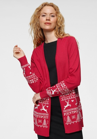 Tom Tailor Polo Team Knit Cardigan in Red